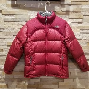 North Face Women XS Red Nuptse Puffer Jacket Coat
